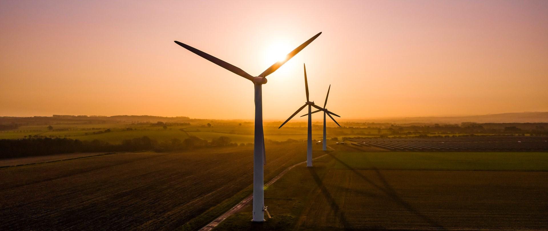 Sun Setting Over Wind Turbines In Field