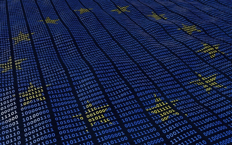 European flag in binary numbers to represent GDPR compliance