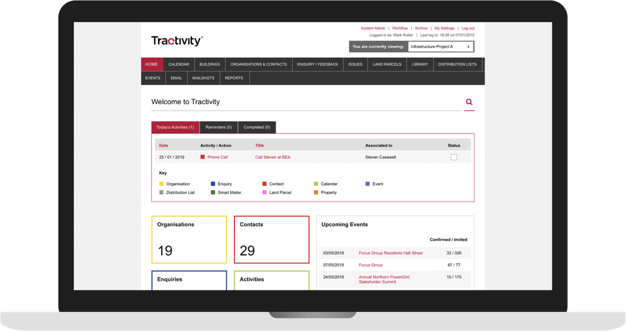 Laptop displaying the Tractivity Stakeholder Management software dashboard